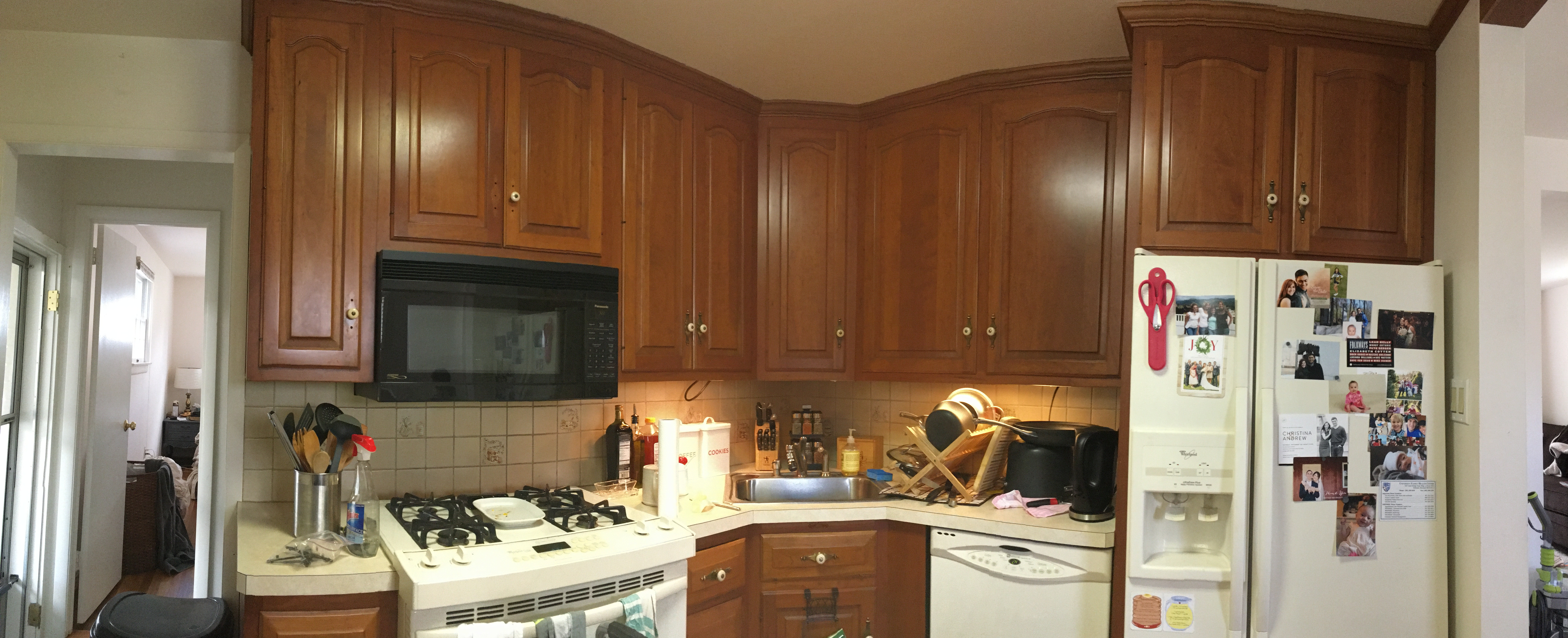 It Was A Usable Kitchen, We Just Wanted To Brighten It Up! What We Decided  To Do Was Paint The Cabinets And Walls, Get New Hardware, Knock Down The  Upper ...